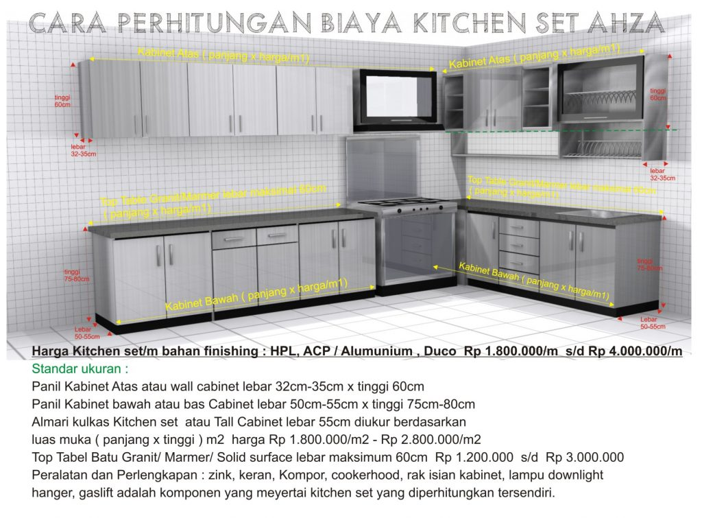 Kitchen set kitchen set minimalis yogyakarta custom for Harga kitchen set aluminium per meter