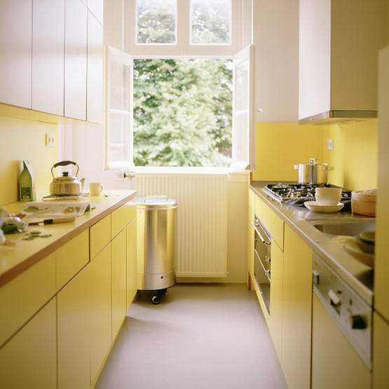 white bright yellow kitchen fitted units modernist formica real home window cooker not used l etc 10/2006 p114